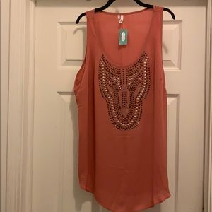 NWT Maurices Embellished Apricot Tank